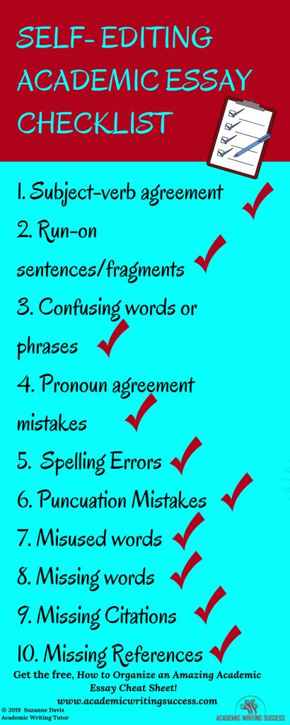 Self-Editing Academic Essay Checklist