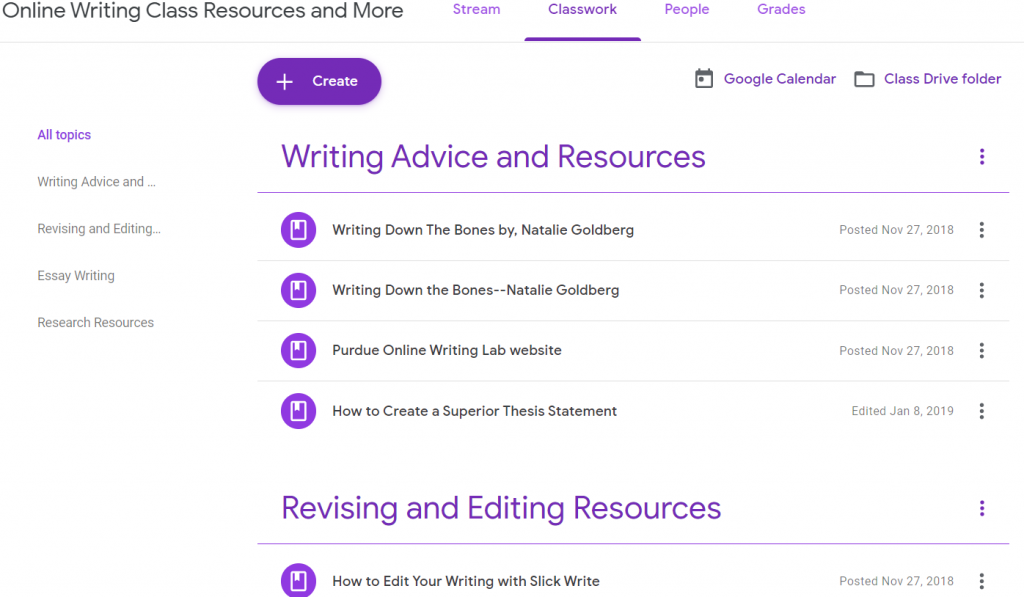 Google Classroom for Writing